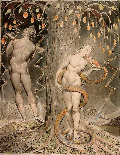 The Temptation and Fall of Eve, by William Blake - illustration to Milton's 'Paradise Lost' (1808, pen and watercolour on paper)